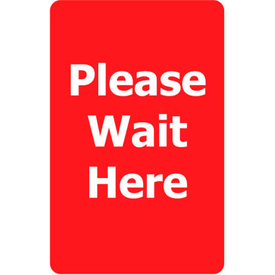 """Tensabarrier Red 7""""x11"""" 1/4"""" Classic Acrylic Sign - Please Wait Here"""