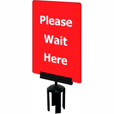 """Tensabarrier Red 7""""x11"""" 1/4"""" Thick Acrylic Sign - Please Wait Here"""