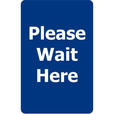 "Tensabarrier Blue 7""x11"" 1/4"" Classic Acrylic Sign - Please Wait Here"