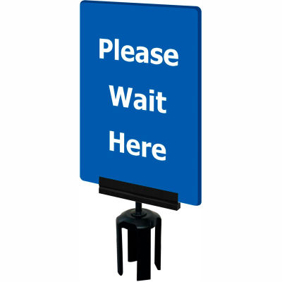 "Tensabarrier Blue 7""x11"" 1/4"" Thick Acrylic Sign - Please Wait Here"