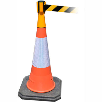 Tensabarrier Safety Crowd Control, Queue Cone Topper, Yellow With 7.5' Black/Yellow Retractable Belt