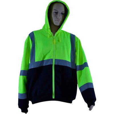 Petra Roc Thermal Lined Zip-Up Hoodie, ANSI Class 3, 2 Slash Pockets, Polar Fleece, Lime/Black, XL