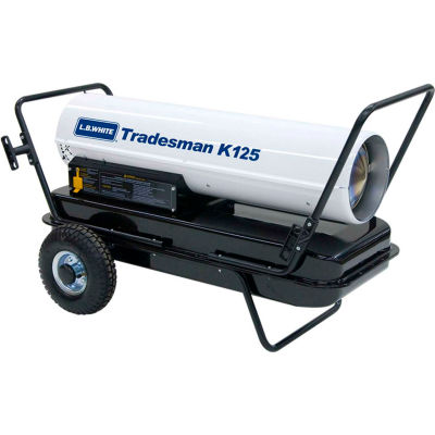 L.B. White® Portable Kerosene Heater Tradesman K125, 125K BTU, # 1 or # 2 Fuel Oil