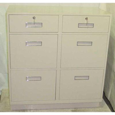 "Fenco Teller Pedestal Cabinet 211-A - 2 Drawers 4 Legal Drawers 36""W x 19""D x 38-1/2""H Champagne"