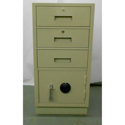 """Fenco Pedestal Safe 225FLL-A -3 Drawers Thick Full Left Hinged Door 18""""W x 19""""D x 38-1/2""""H Champagne"""