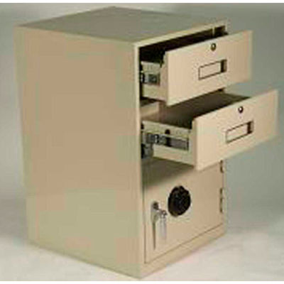 Fenco Lowboy Pedestal Safe 620R-A - 2 Drawers Thick Full Right Hinged Door 18x19x27-7/8 Champagne