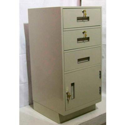 "Fenco Teller Pedestal Cabinet S-216L-I - 3 Drawers Left Hinged Door 19""W x 19""D x 38-1/2""H Gray"
