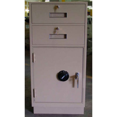 Fenco Pedestal Safe S-222FLL-A - 2 Drawers Thick Full Left Hinged Door 19x19x38-1/2 Champagne