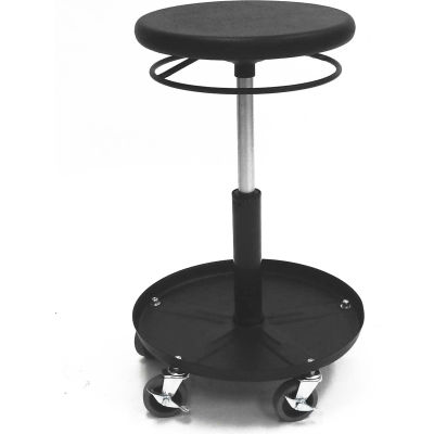 """ShopSol Round Welding Stool with Tray - 19.5"""" to 26.5""""H Adjustment"""