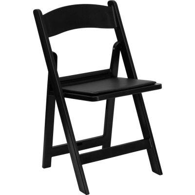 Flash Furniture Resin Folding Chair with Vinyl Seat - Black - Pkg Qty 4