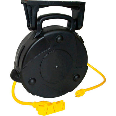 Lind Equipment 8040-T 40' 12/3 SJTW Cable Reel, 15A Triple Outlet