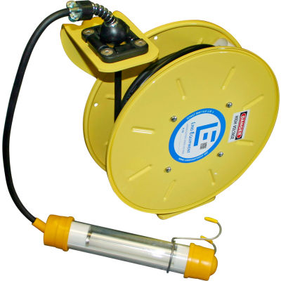 Lind Equipment LE9030163F1 30Ft 16/3 SJOW Cable Cord Reel W/ Flurescent Hand Lamp