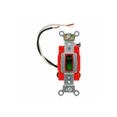 Leviton 1223-Plr 20a, 120v, Illuminated On, Neutral 3-Way Ac Quiet Switch, Red - Min Qty 5