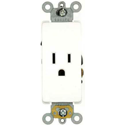 Leviton 16251-W 15A, 125V, NEMA 5-15R, Decora Plus Single Receptacle, Self-Grounding, White