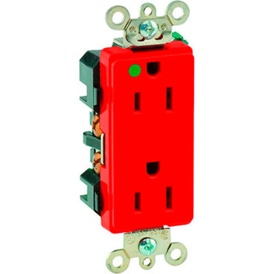 Leviton 16262-Hgr 15a, 125v, Decora Plus Duplex Receptacle, Hospital Grade , Red - Min Qty 14 - Pkg Qty 10