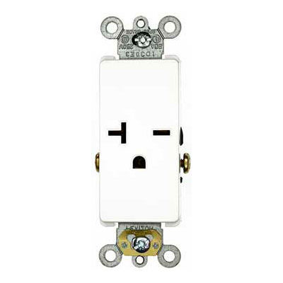 Leviton 16441-W 20A, 250V, Decora Plus Single Receptacle, Commercial Grade, Self-Grounding, White