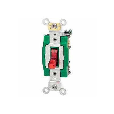 Leviton 3031-Plr 30a, 120v, Illuminated On,Single-Pole Ac Quiet Switch, Red - Min Qty 8