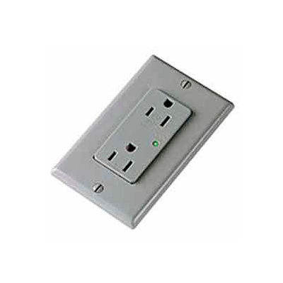 Leviton 5280-Gy 15a 125v Decora Duplex Receptacle, Self Grounding, Gray - Min Qty 5