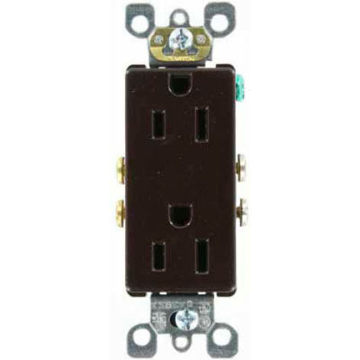Leviton 5325-S 15A, 125V, Decora Duplex Receptacle, Self Grounding, Brown