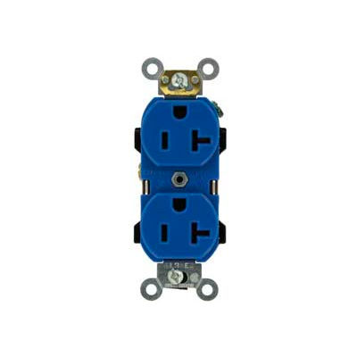 Leviton 5352-BU 20A, 125V, Duplex Receptacle, Blue
