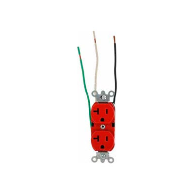 Leviton 5362-Lr 20a, 125v, Duplex Receptacle, Grounding, Red - Min Qty 12
