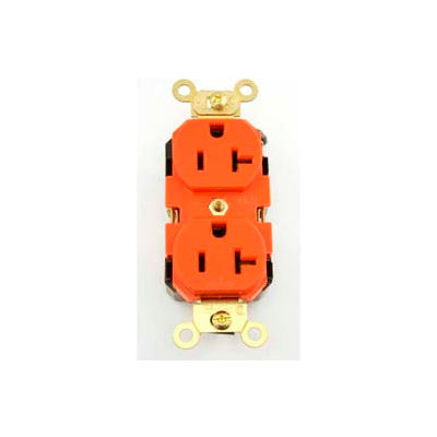 Leviton 5362-SO Duplex Receptacle, Straight Blade, Contractor Pack, Orange