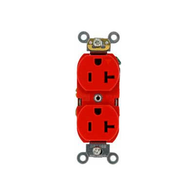 Leviton 5362-SR Duplex Receptacle, Straight Blade, Contractor Pack, Red