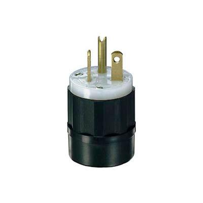 Leviton 5466-C 20A, 250V, NEMA 6-20P, 2P, 3W, Plug, Grounding, Black-White
