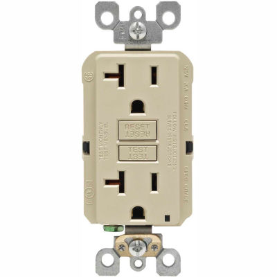 Leviton GFNT2-I 20A SmartlockPro Self-Test GFCI Duplex Recpt, Ind Light, Wire Leads, Ivory