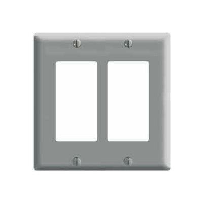 Leviton 80409-GY 2-Gang Decora/GFCI Device Decora, Standard, Thermoset, Gray