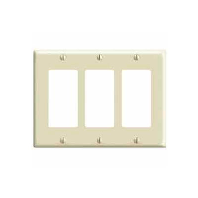 Leviton 80411-I 3-Gang Decora/GFCI Device Decora, Standard, Thermoset, Ivory