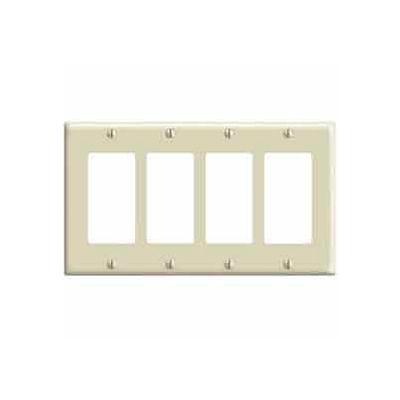 Leviton 80412-I 4-Gang Decora/GFCI Device Decora, Standard, Thermoset, Ivory