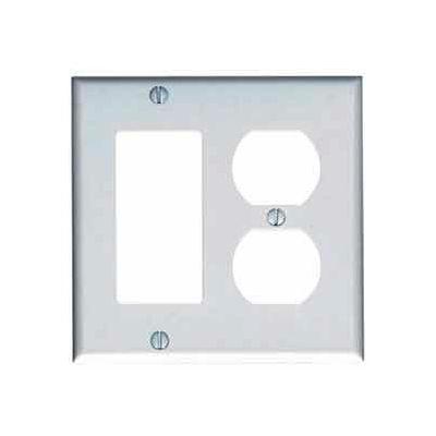 Leviton 80455-W 2-Gang 1-Duplex 1-Decora/GFCI Device Combo, Standard, White