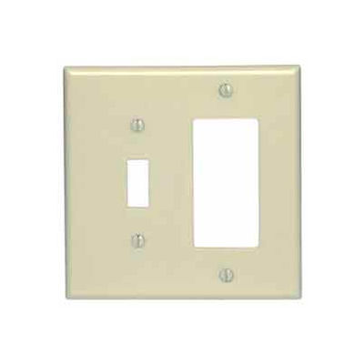 Leviton 80605-I 2-Gang 1-Toggle 1-Decora/GFCI Device Combo, Ivory