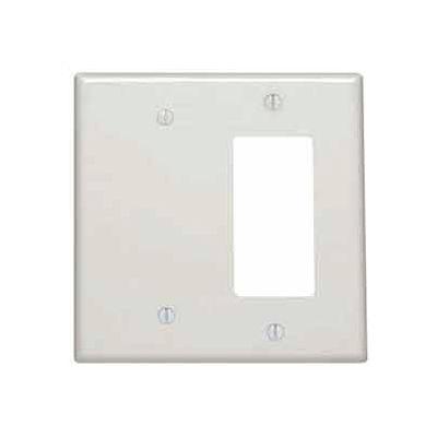 Leviton 80608-T 2-Gang 1-Blank 1-Decora/GFCI Device Combo, Light Almond