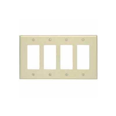 Leviton 80612-W 4-Gang Decora/GFCI Device Decora, Midway, Thermoset, White