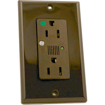 Leviton 8280 Decora Dplx Surge Prot. Recpt., Indicator Light & Alarm, 15a, Brown - Min Qty 4