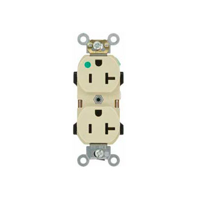 Leviton 8300-Hij 20a, 125v, Narrow Body Duplex Receptacle, Self Grounding, Ivory - Min Qty 11