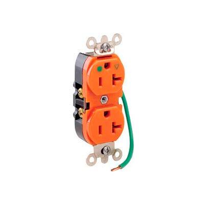 Leviton 8300-Lig 20a, 125v, Slim Body Duplex Receptacle, Orange - Min Qty 10