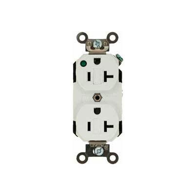 Leviton 8300-Plw 20a, 125v, Duplex Receptacle, Self Grounding, White - Min Qty 8