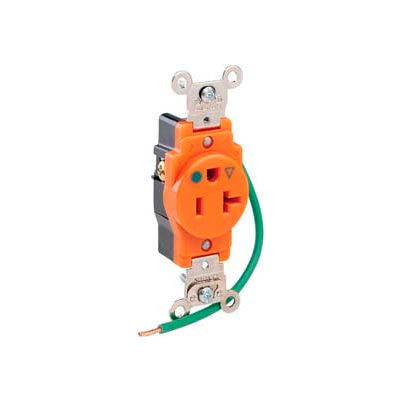 Leviton 8310-Oig 20a, 125v, 2p, 3w, Single Rcpt, Str. Blade, Isolated Ground - Min Qty 10