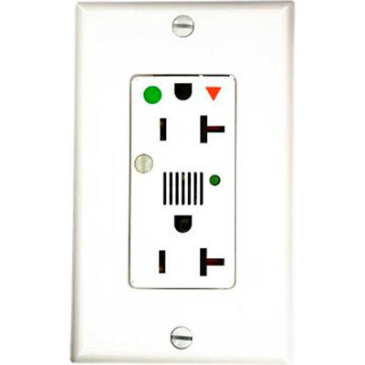 Leviton 8380-Igw Decora Dplx Surge Prot Recpt Iso Grd, Ind Lht & Alarm 20a, White - Min Qty 4