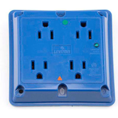 Leviton 8480-Igb 4-In-1 Receptacle, Straight Blade, Hospital Grade, Blue - Min Qty 4