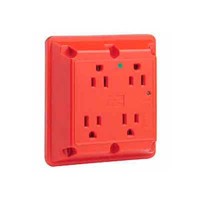 Leviton 8480-R 4-In-1 Receptacle, Straight Blade, Hospital Grade, Red - Min Qty 4