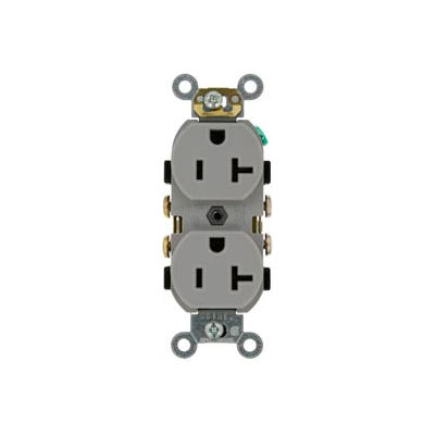 Leviton CR020-GY 20A, 125V, Slim Body Duplex Receptacle, Gray - Pkg Qty 10