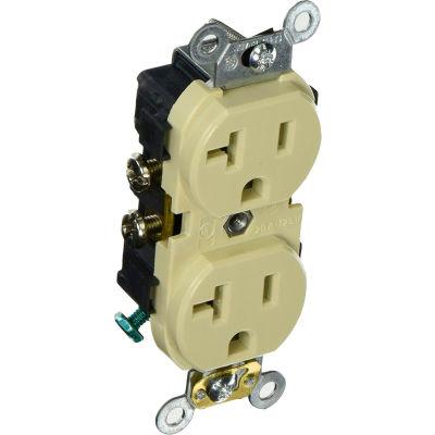 Leviton CR020-I 20A, 125V, Slim Body Duplex Receptacle, Ivory - Pkg Qty 10