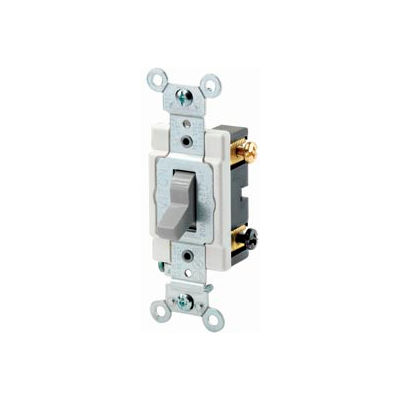 Leviton CSB3-20G 20 Amp, 120/277 Volt, 3-Way, Grounding, Bk & Side Wired, Gray