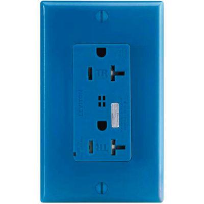 Leviton T7380-B Tamper Resistant Surge Prot. Decora Duplex Recpt, 20a, Blue - Min Qty 4