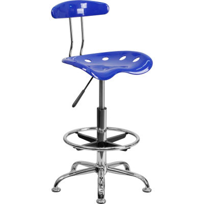 Flash Furniture Desk Stool with Back - Plastic - Blue