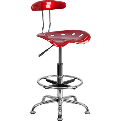 Flash Furniture Desk Stool with Back - Plastic - Red